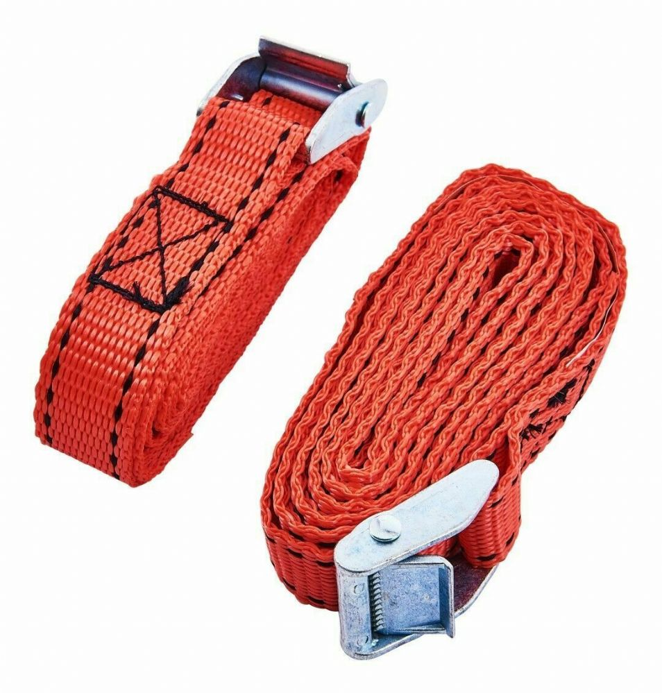 2Pc Tie Down Straps (2.5M X 25Mm) 150Kg Webbing Secure Metal Cam Buckle Strong